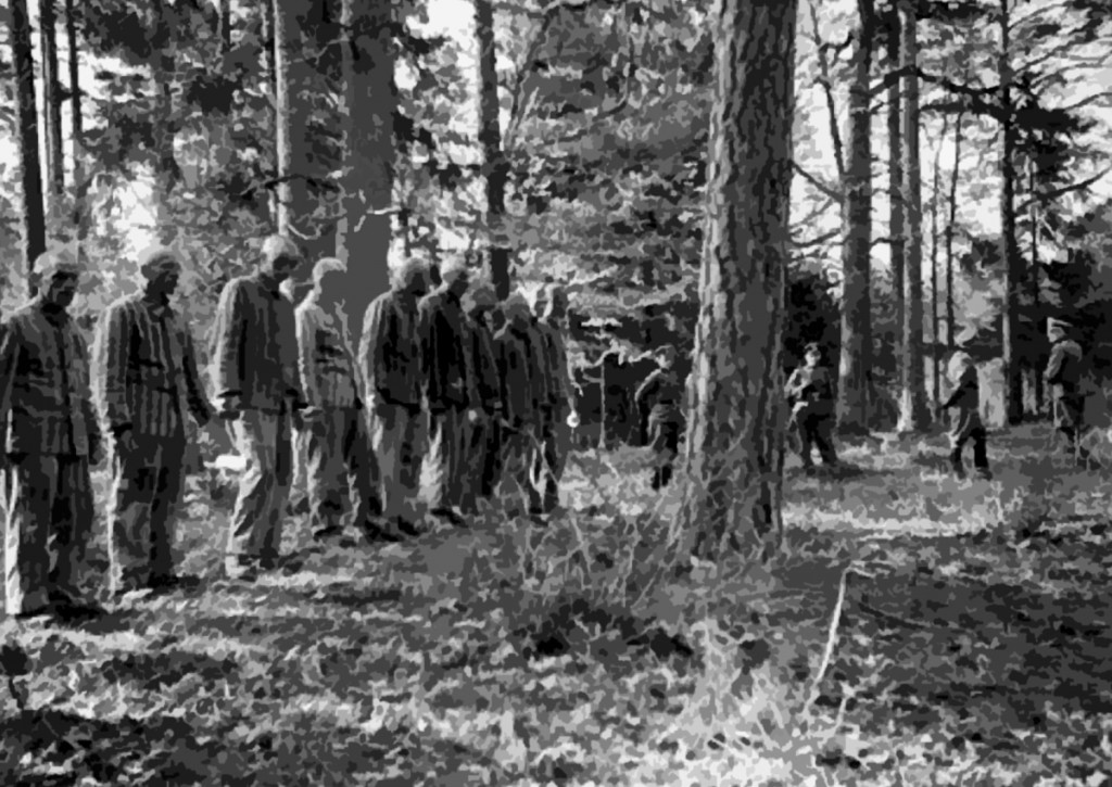Prisoners from Buchenwald awaiting execution in the forest near the camp