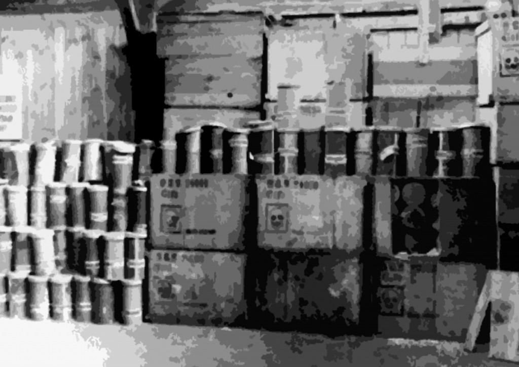 A warehouse filled with containers of Zyklon B (poison gas pellets) at the Majdanek death camp