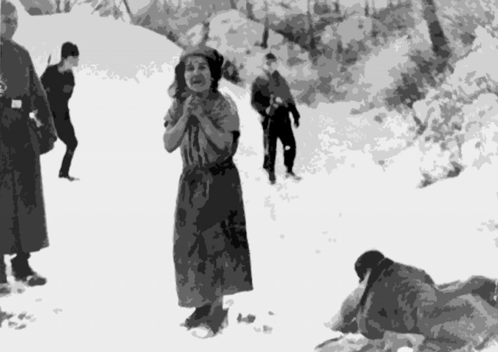 A woman about to be executed in the Belzec concentration camp