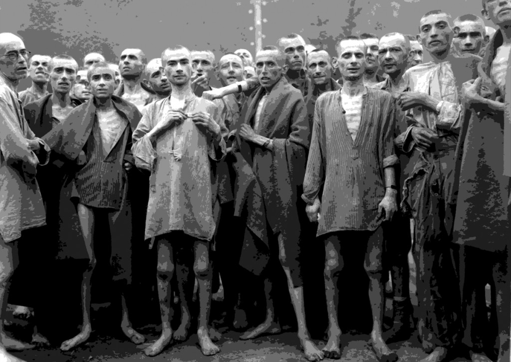Starved prisoners, nearly dead from hunger, pose in concentration camp in Ebensee, Austria