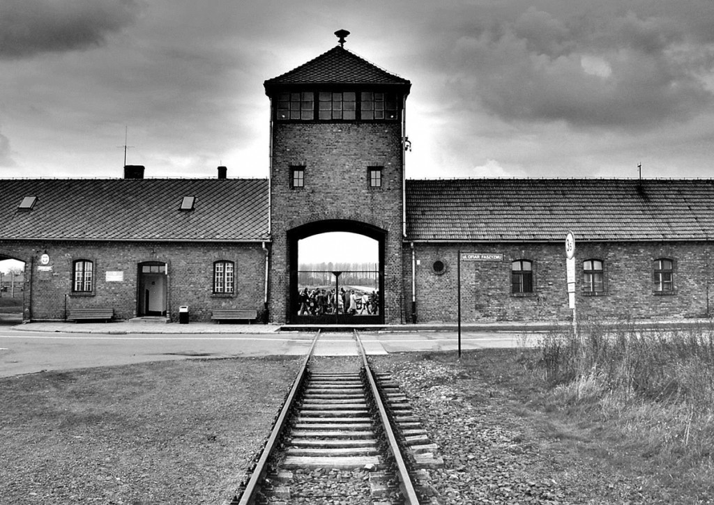 View of the entrance to the main camp of Auschwitz (Auschwitz I)