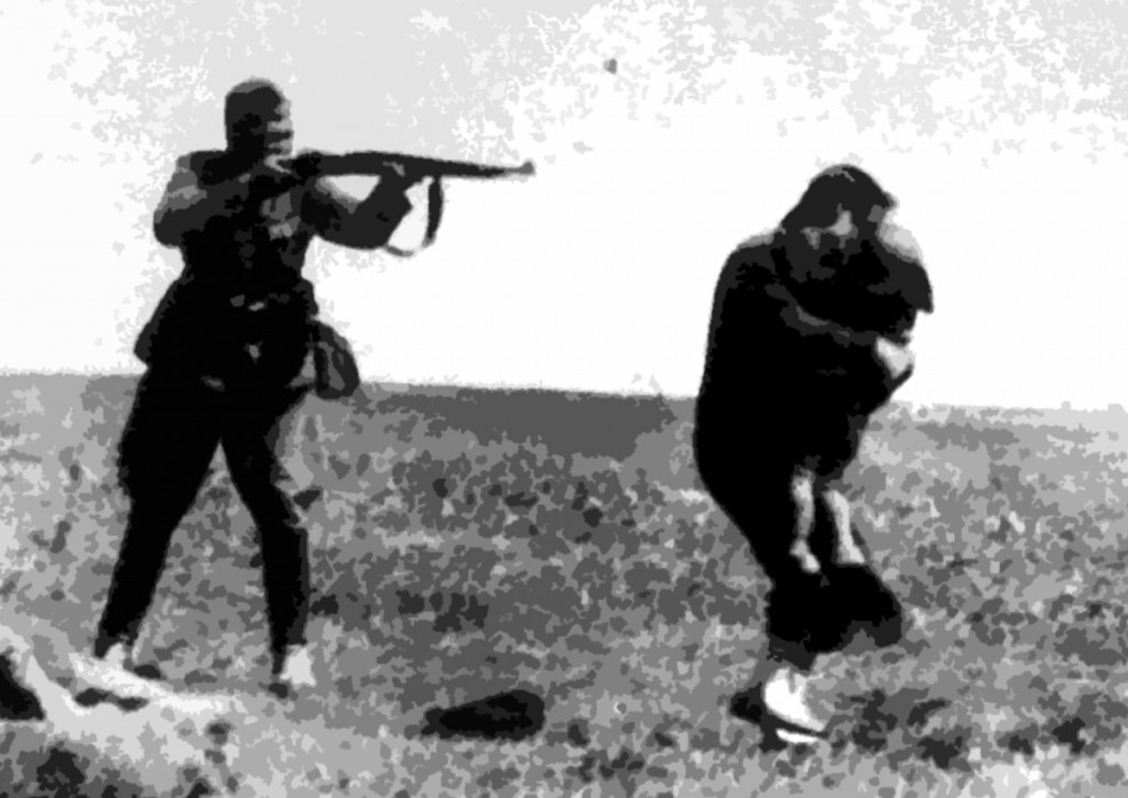 The famous, almost biblical, picture of the German soldier shooting a woman and child