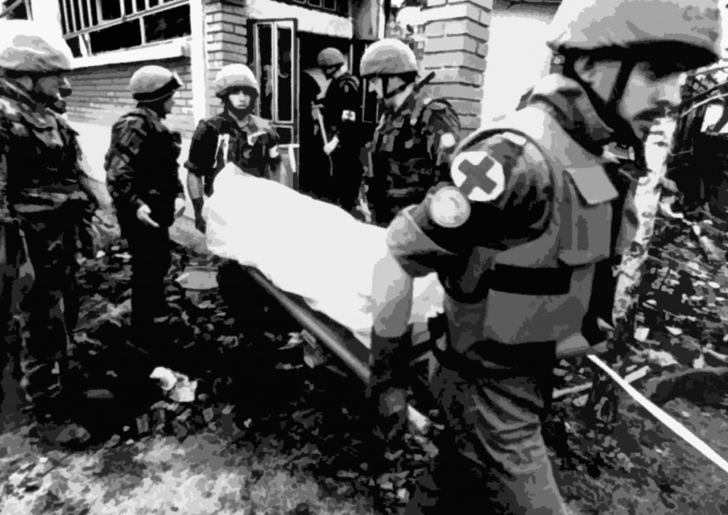 UN Peace keepers collecting bodies from Ahmići, Bosnia and Herzegovina in April 1993