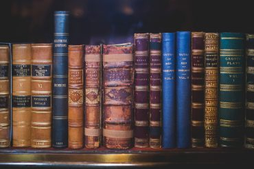 Books on a library bookshelf