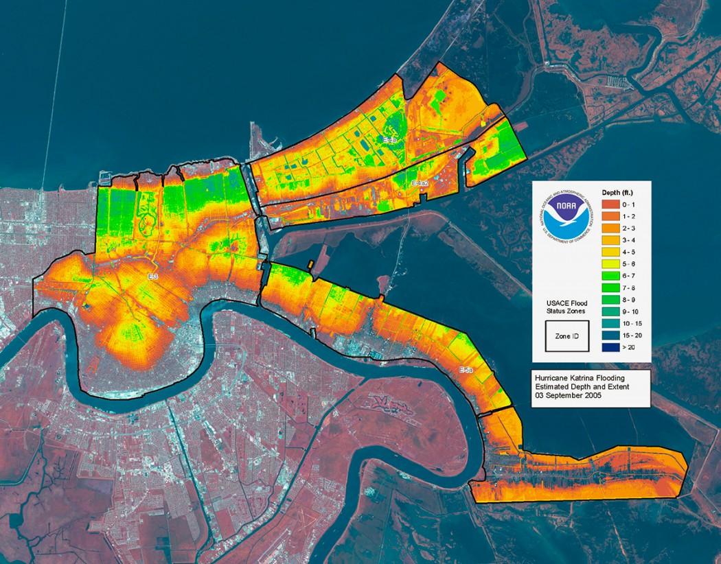 Hurricane Katrina Flood Depth Estimation NOAA