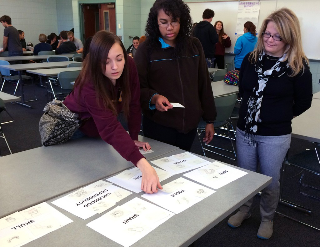 Katie Nelson with anthropology students during community-based learning project at River's Edge Academy
