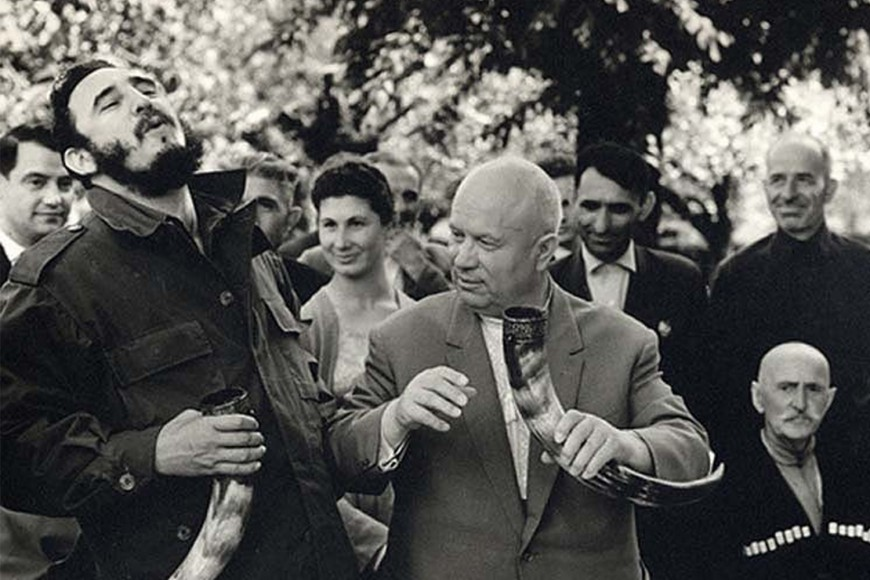 Fidel Castro and Nikita Khrushchev drinking wine from drinking horns in Soviet Republic of Georgia, 1963