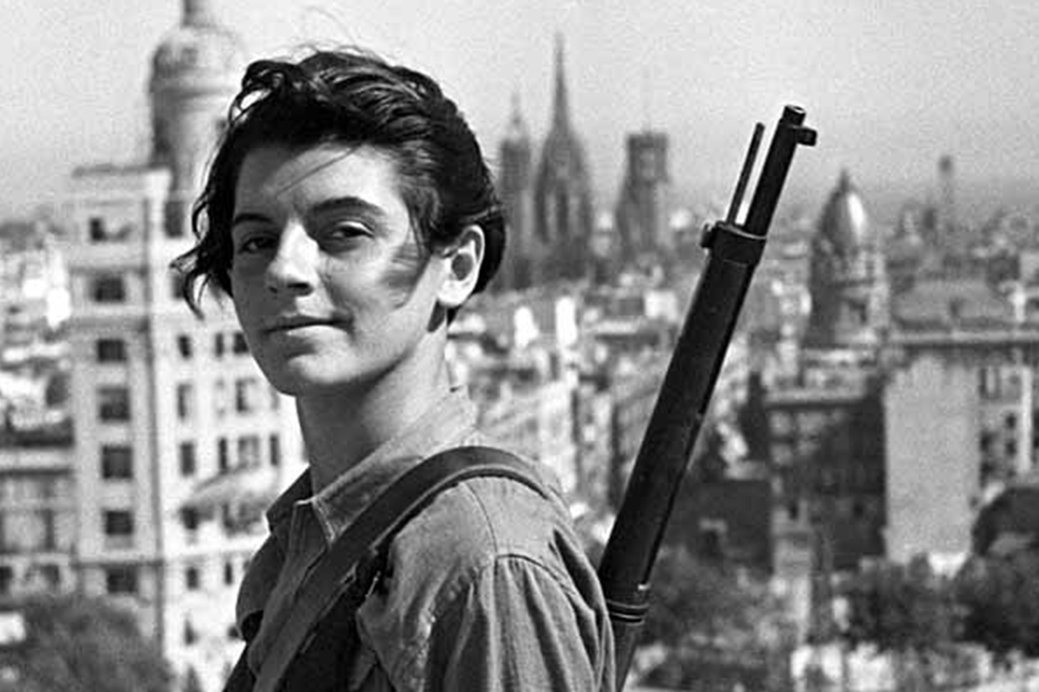 Marina Ginesta, a 17-year-old communist militant, overlooking Barcelona during the Spanish Civil War, 1936