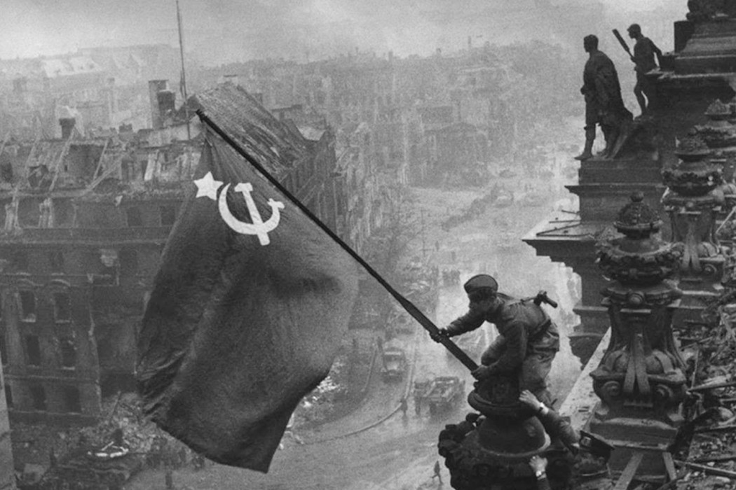 Raising the Soviet flag over Reichstag in Berlin, 1945