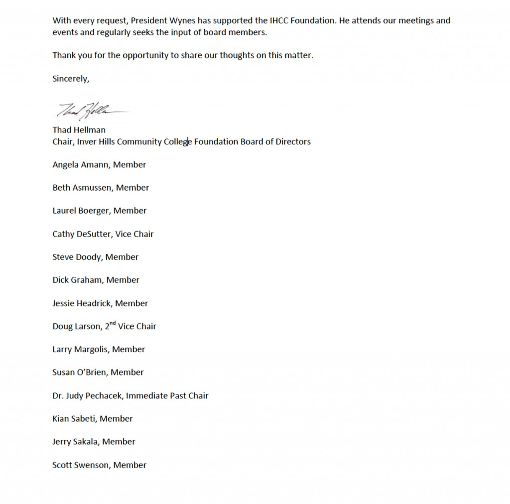 Letter of support from Inver Hills Foundation Board