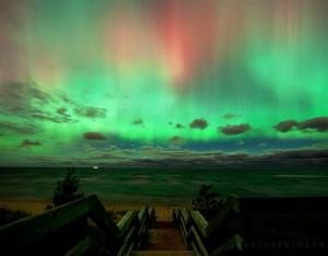 Aurora borealis over Lake Superior