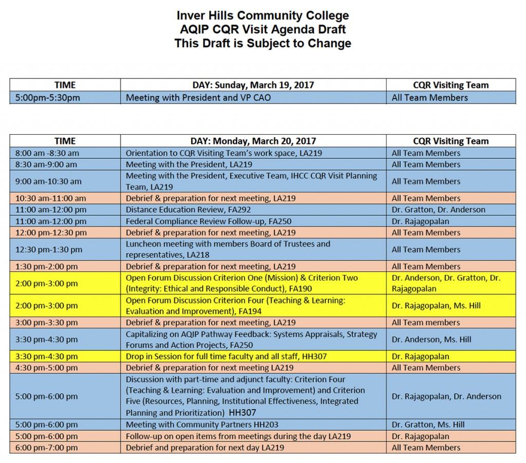 HLC CQR Visit Schedule