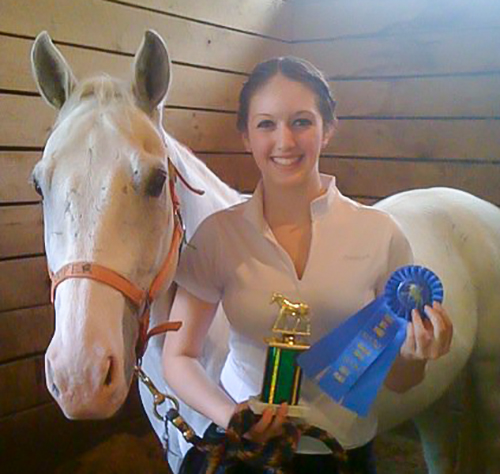 Age 14 first place with Cooper, her favorite lesson horse