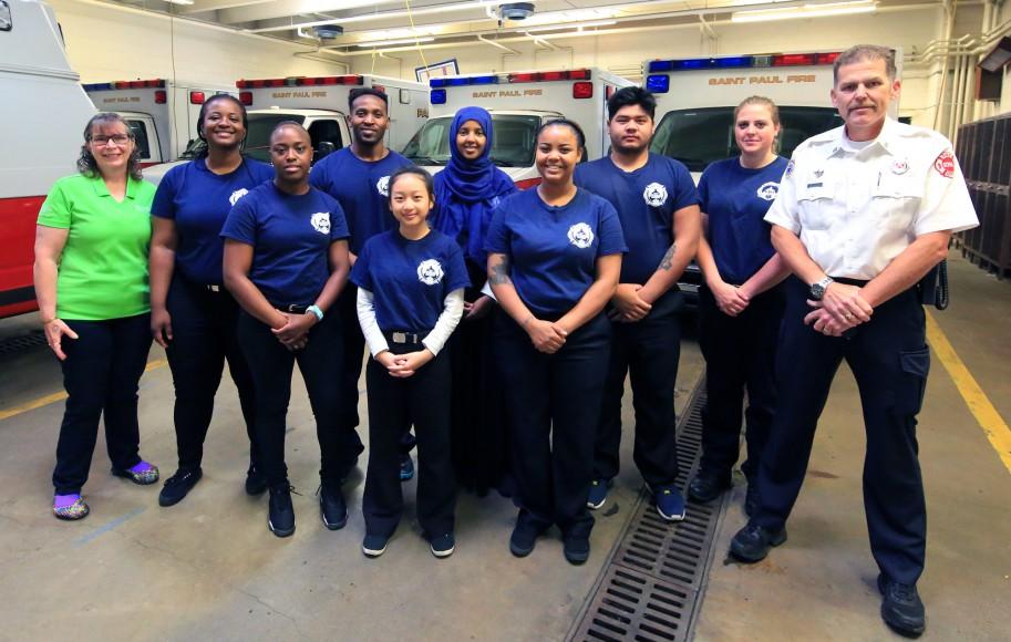 EMS Academy 2017 summer class students with SPFD Fire Captain Ken Adams (far right), EMS Academy Instructor Kayla Ludden, MTC EMS Training Coordinator Ann Zimmermann-Hohn (far left)