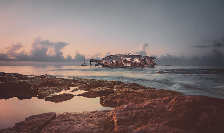 Beached boat in San Miguel de Cozumel, Mexico
