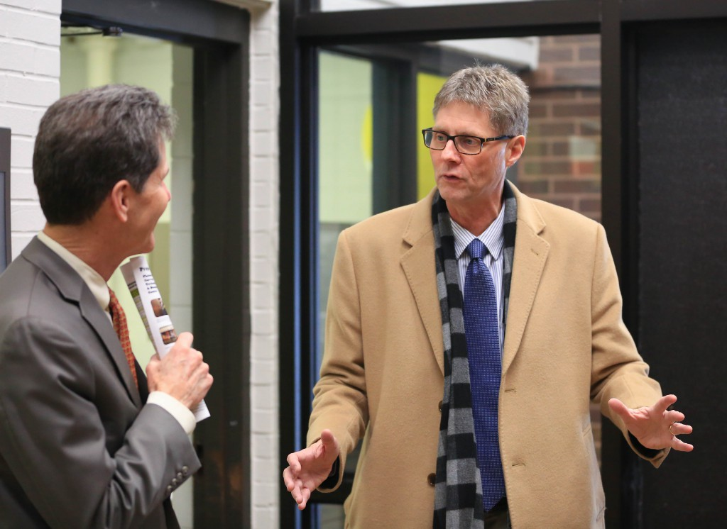 President Wynes with Commissioner Pogemiller during Inver Hills campus tour in March 2018