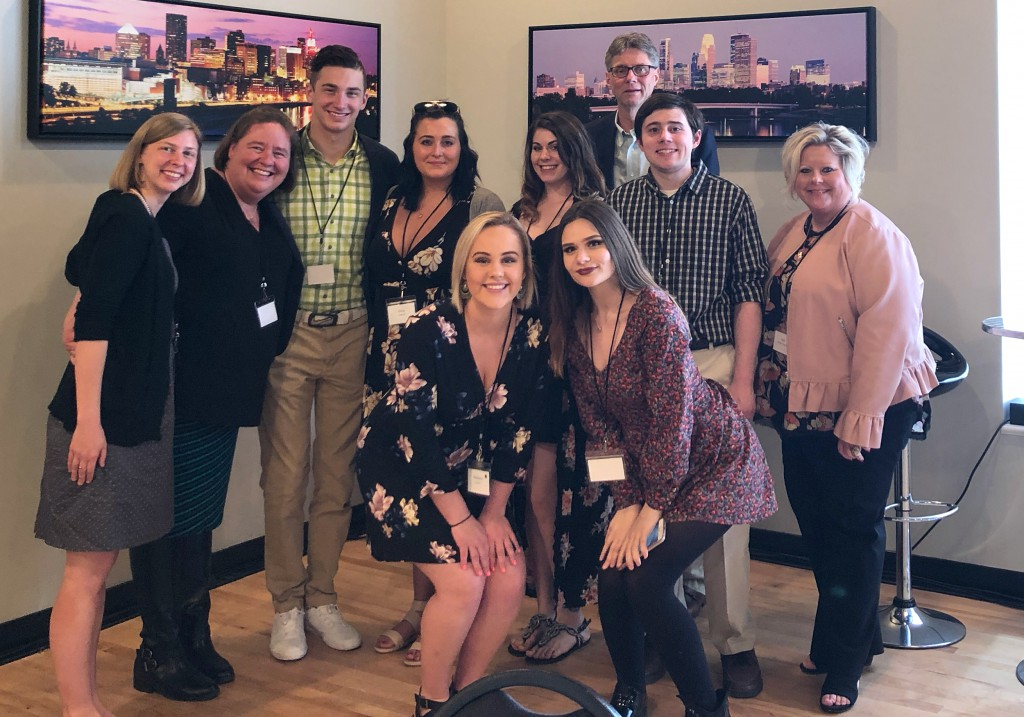 (left to right) Director Emily Johnson, Instructor Amy Zsohar, Timmy Conlin, Gina Chandi, Madison Caroon, Victoria Filter, Kaitlyn Simones, President Tim Wynes, Josh Storms, Dean Ann Dieman-Thornton