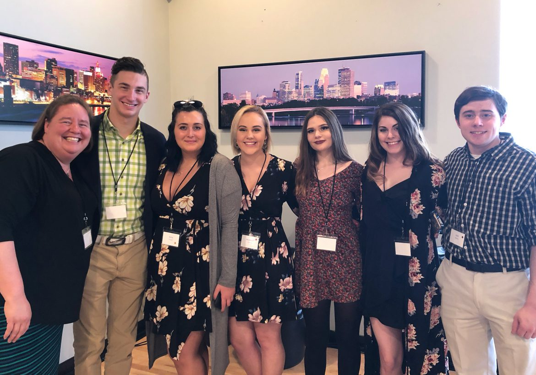 (left to right) Amy Zsohar, Timmy Conlin, Gina Chandi, Madison Caroon, Kaitlyn Simones, Victoria Filter, Josh Storms