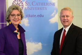 St. Kate's President Becky Roloff and Inver Hills Interim President Michael Berndt