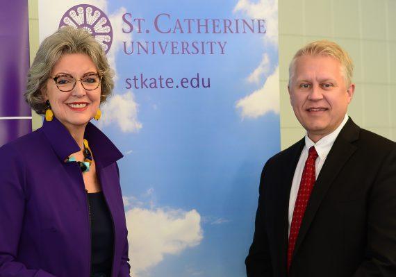 St. Kate's President Becky Roloff and Inver Hills Interim President Michael Berndt