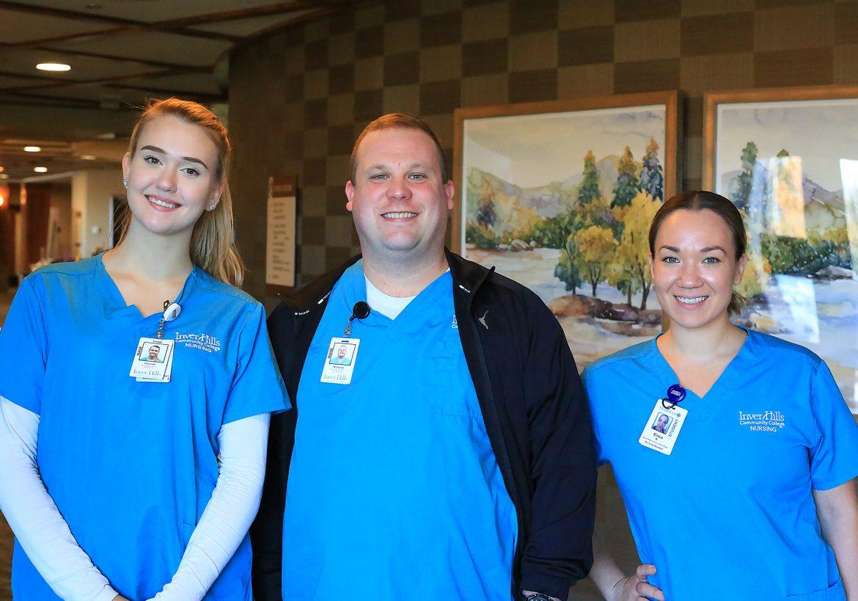 Inver Hills Nursing Students: Hannah Mesmer, Nick Welisevich, Erica Rgnonti
