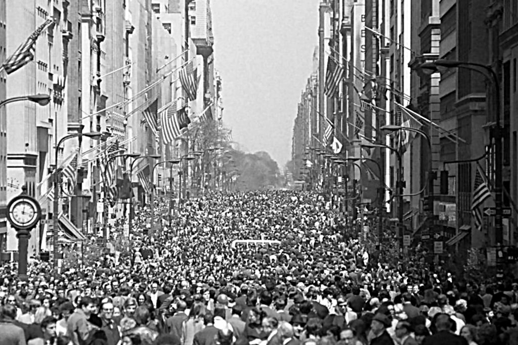 First Earth Day April 22, 1970, on Fifth Avenue in Manhattan