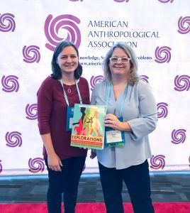 Co-editors Beth Shook and Katie Nelson promoting the textbook at the American Anthropological Association's annual meeting in Vancouver in November of 2019.
