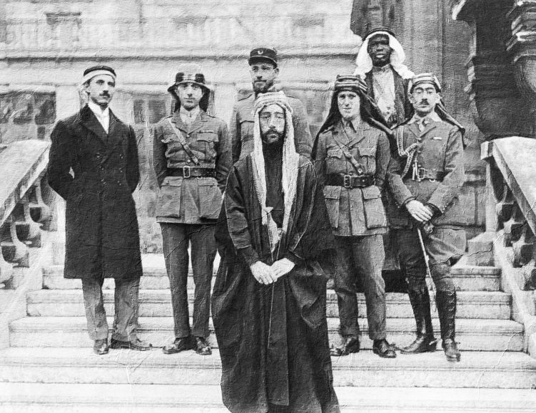T. E. Lawrence with the Faisal delegation circa 1917