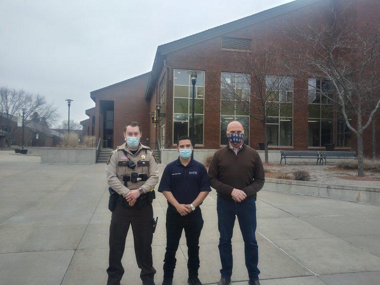 Deputy Martin, Brandon Rodriguez Oropeza, Tony Pangal on Inver campus